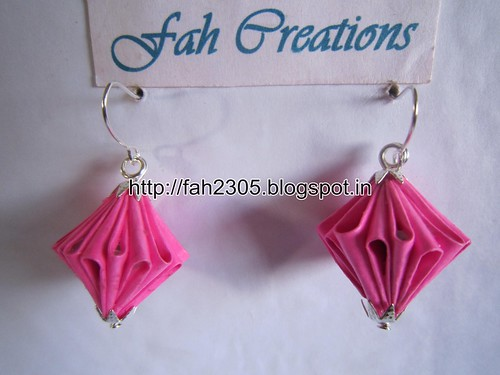 Handmade Jewelry - Origam Unit Diamond Paper Earrings (4) by fah2305