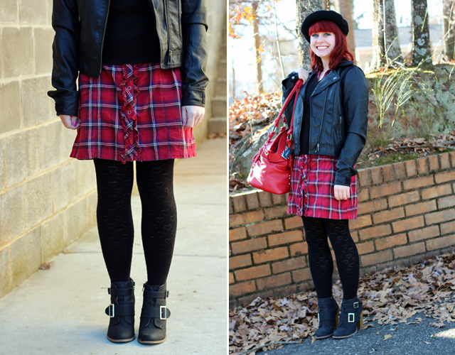 Sweater over a Red Plaid Dress, Leather Jacket, Beret, Heart Tights, & Ankle Boots