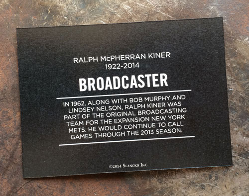 2014 SlangKo Ralph Kiner Broadcaster back