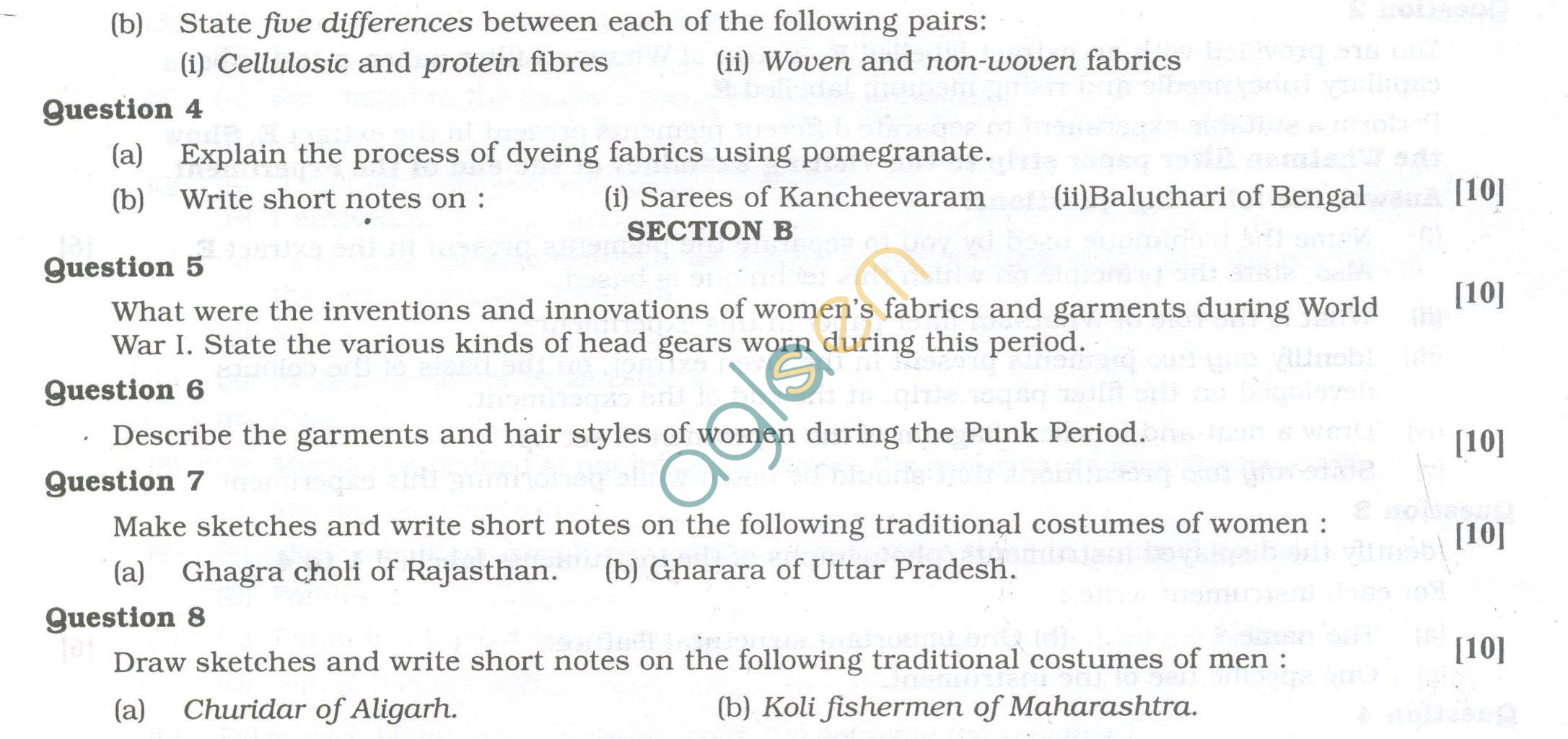 ISC Question Papers 2013 for Class 12 - Fashion Designing