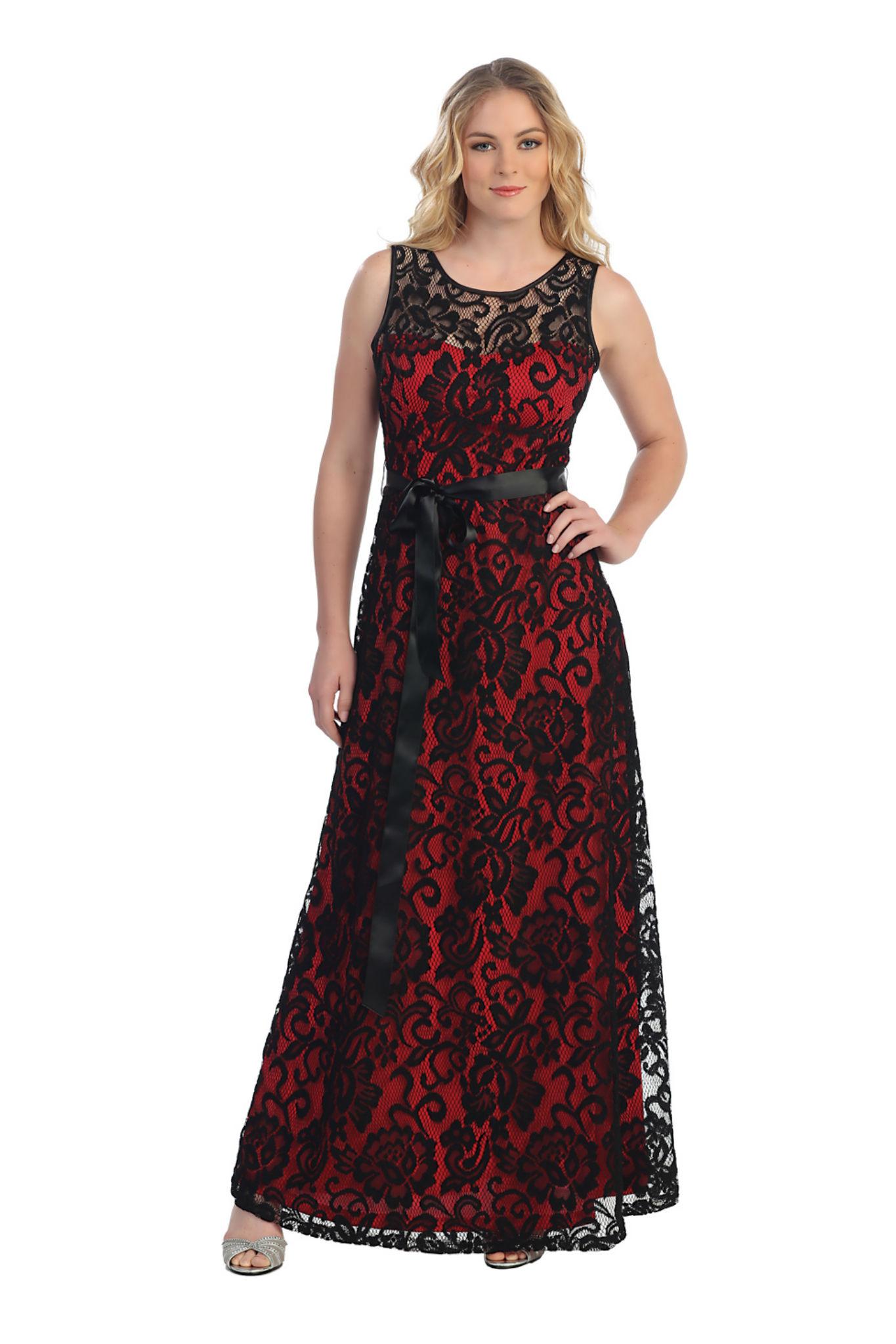 Sleeveless Lace Overlay Sash Bow Floor Length Plus Size