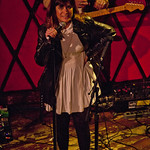 Nicole Atkins and her band for an audience of WFUV members at Rockwood Music Hall, 4/3/14. Hosted by Russ Borris. Photo by Laura Fedele