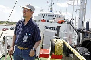 Bob Evans on deck of Odyssey