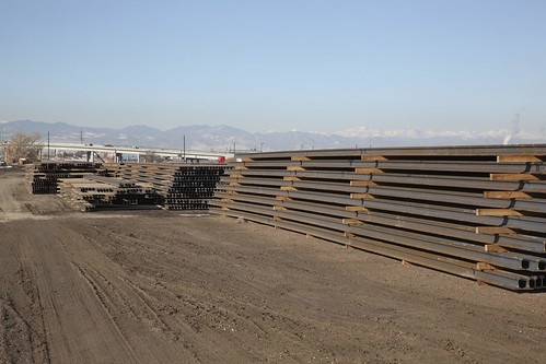 Photo of steel rail from mill in Pueblo stored near Sand Creek