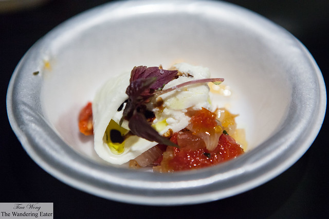 La Burrata with pickled spring onion, red & yellow sundried tomato & fruit mostarda by Armani Restaurant (at VIP Lounge)