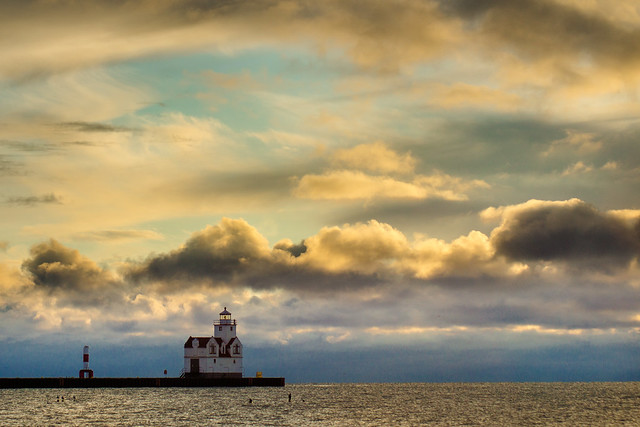 Lighthouse, Kewaunee, Wisconsin, Lake Michigan, Clouds, Sky