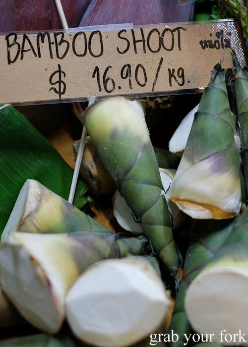 Fresh bamboo shoots at Jarern Chai Asian Grocer, Sydney