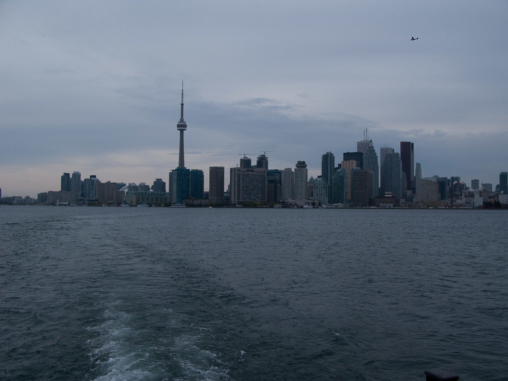 Views of Toronto skyline from ferry to Centre Island