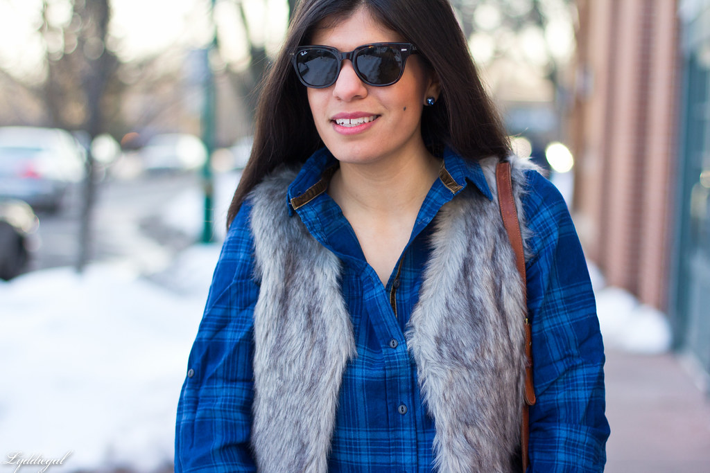 blue plaid shirt, fur vest, coach bag-7.jpg