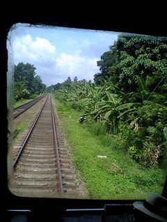 View out the back of a fist class observation car on the rears of the Colombo to Kandy train.