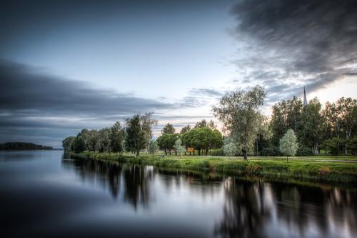 sunset river evening joensuu