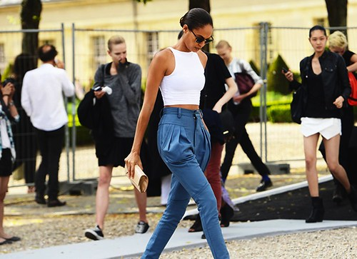 Joan smalls, crop top, high waist trousers,