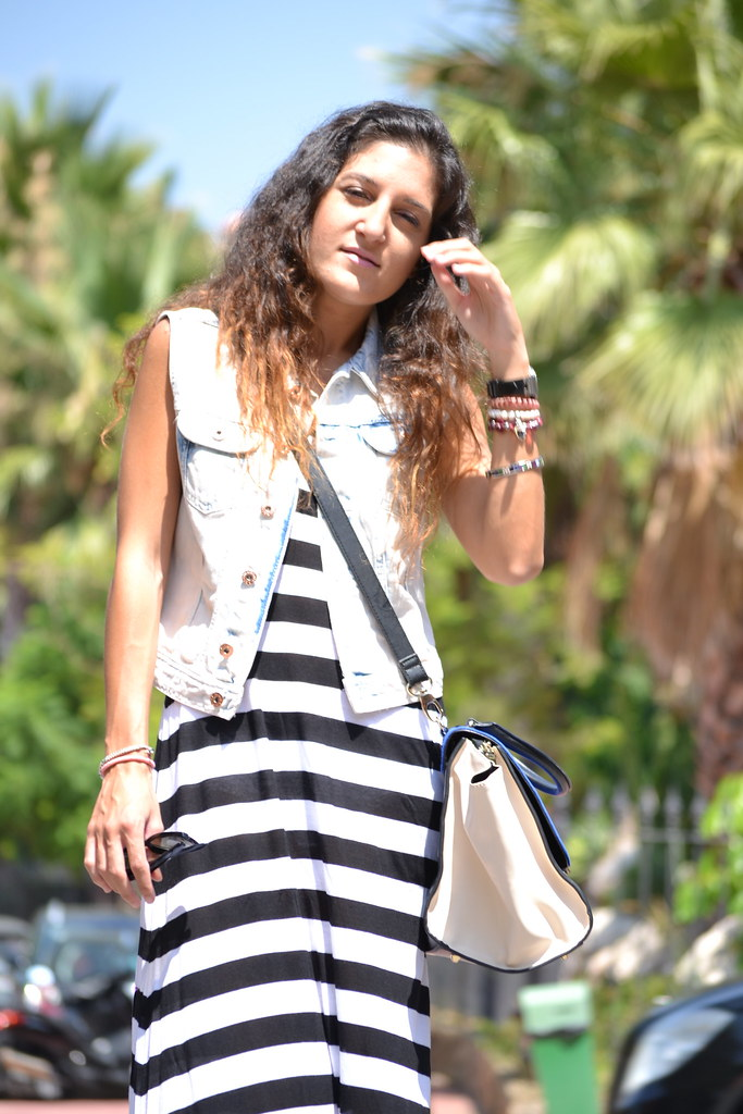 long dress black and withe stripes