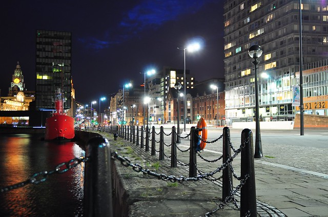 Liverpool docks by night