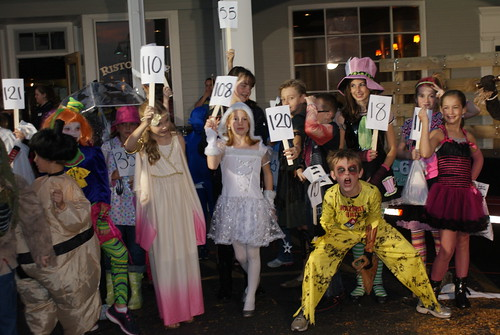 Treat or Treaters lined up for costume contest at Boone Village.