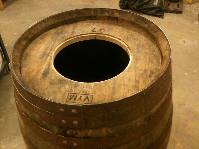 Whiskey barrel with routed out hole