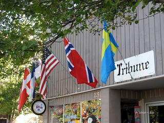 Four Scandinavian Flags & One American Flag at Tribune News in Junction City