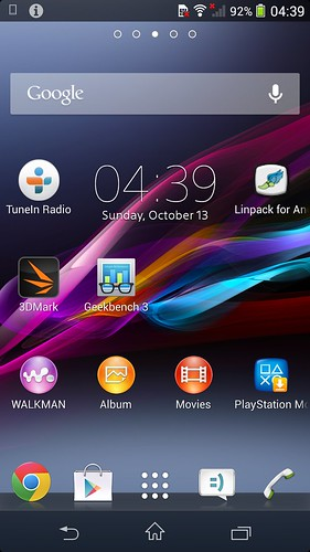 หน้า Home screen ของ Sony Xperia Z1