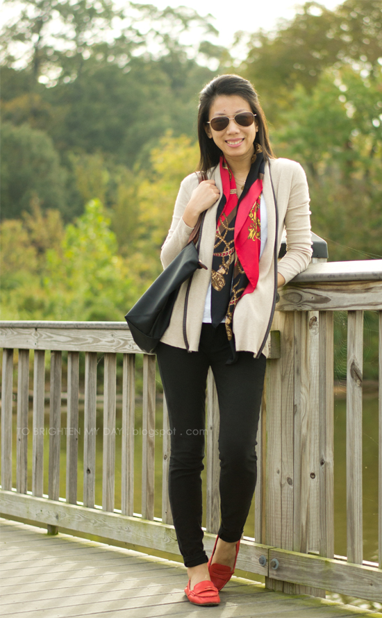 open cardigan, chain scarf, red loafers