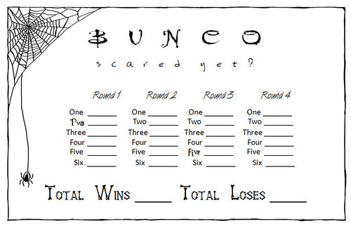 halloween Bunco Score Card image