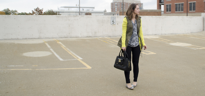 november outfit, 30 remix, thirty for thirty, neon green with olive green, layers and vests, fall layers, what to wear to work