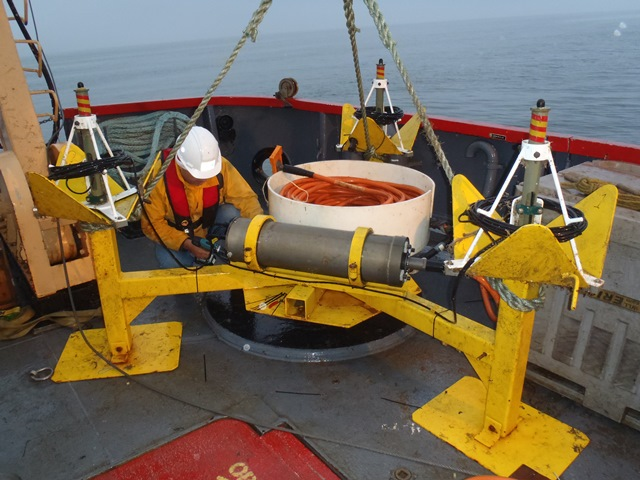Deployment of a test hydrophone array, October 2013.