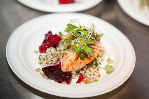 Ed's Chowder House - Seared Skuna Bay Salmon Grain salad with beets and horseradish