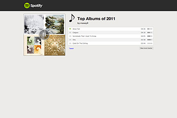 Spotify Top 5 Albums of 2011 Playlist