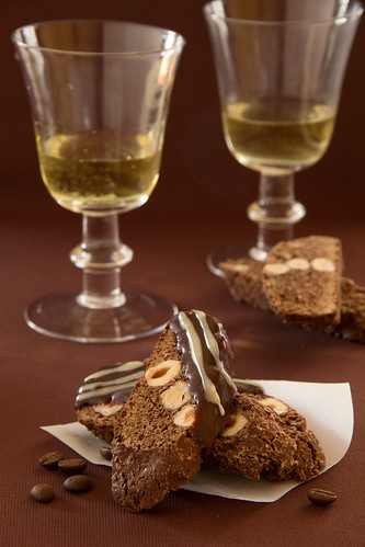 Chocolate biscotti with a mocha and nuts.