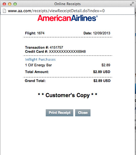 Receipt for an inflight purchase