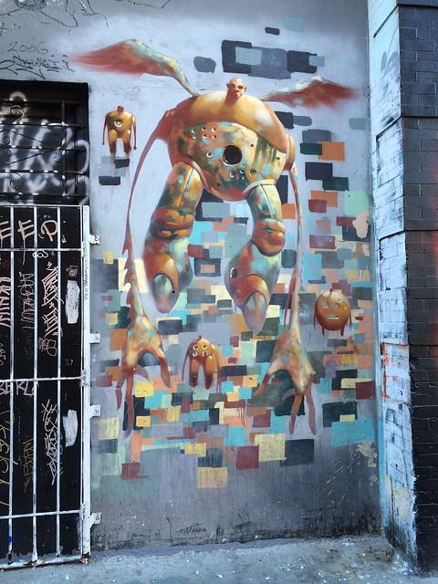 Alien graffiti mural, SoMa