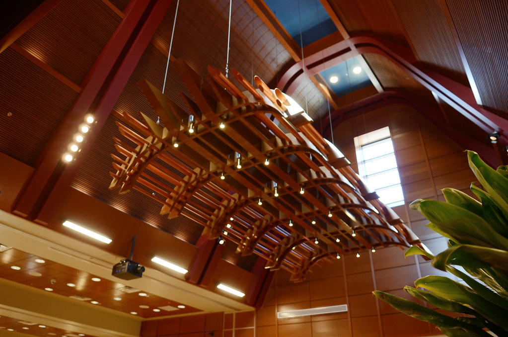 <p>The ceiling of the Performing Arts Auditorium in Hale'ōlelo, the home of UH Hilo's Ka Haka 'Ula O Ke'elikōlani College of Hawaiian Language opened in January 2014.</p>