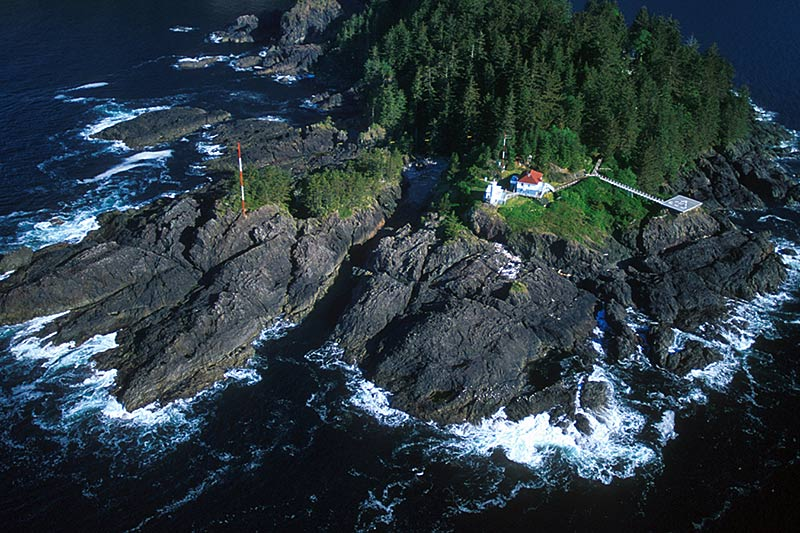 Kains Lighthouse in Quatsino Sound, North Vancouver Island, British Columbia, Canada