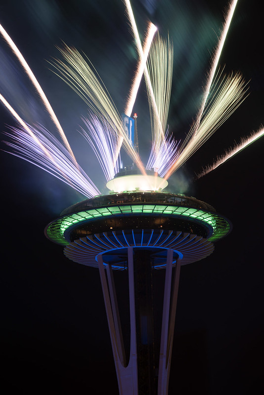 Fireworks on the Space Needle, after the Super Bowl