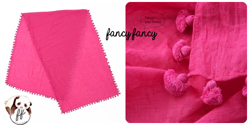 07.春意盎然流蘇球球圍巾(披肩)-粉紅色細節