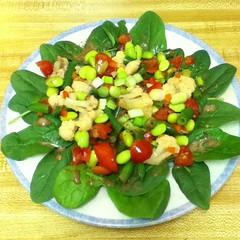 spinach salad, salad, vegetable, vegetarian food, food, dish, cuisine,