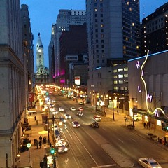 The Avenue of the Arts buzzes with an electric glow #nofilter view from @kimmelcenter #boardstreet #Philadelphia #philly #centercity #thisjusthappened #visitphilly