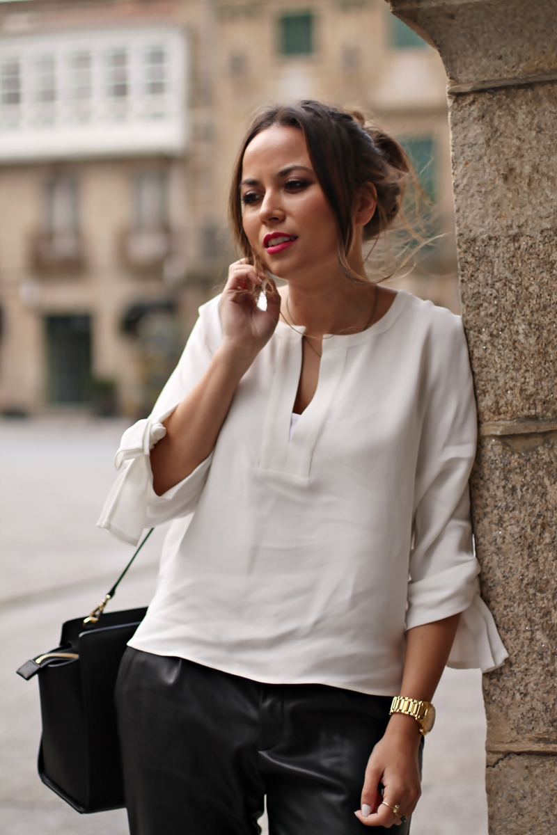 black, blusa zara blanca