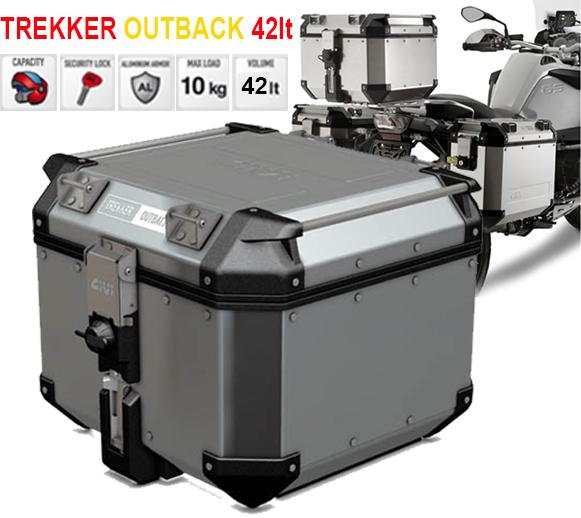 givi trekker outback 42lt 42 lt monokey aluminium top case hard bag obk42a cases cases. Black Bedroom Furniture Sets. Home Design Ideas