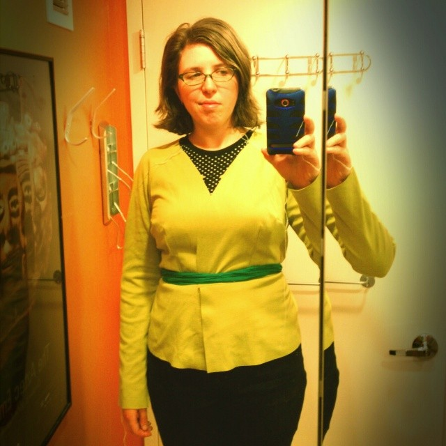 "Feeling pretty ""meh"" about this half-sewn McCalls doubleknit cardigan wrap jacket I abandoned in 2010... I doubt even the self-fabric belt will mitigate the bagginess BUT it is the last UFO in my sewing bag ... So I am determined. #finishingufos #sewing"