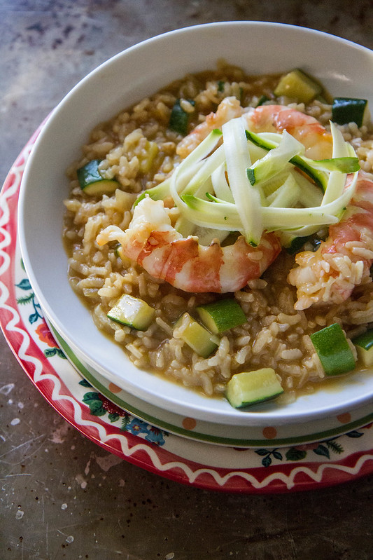 Shrimp Zucchini RIsotto (dairy and gluten free)