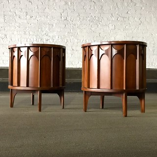 ***ON DECK*** Kent Coffey Midcentury Modern Perspecta Rosewood and Walnut Commode Nightstands Side Tables (U.S.A., 1960s)