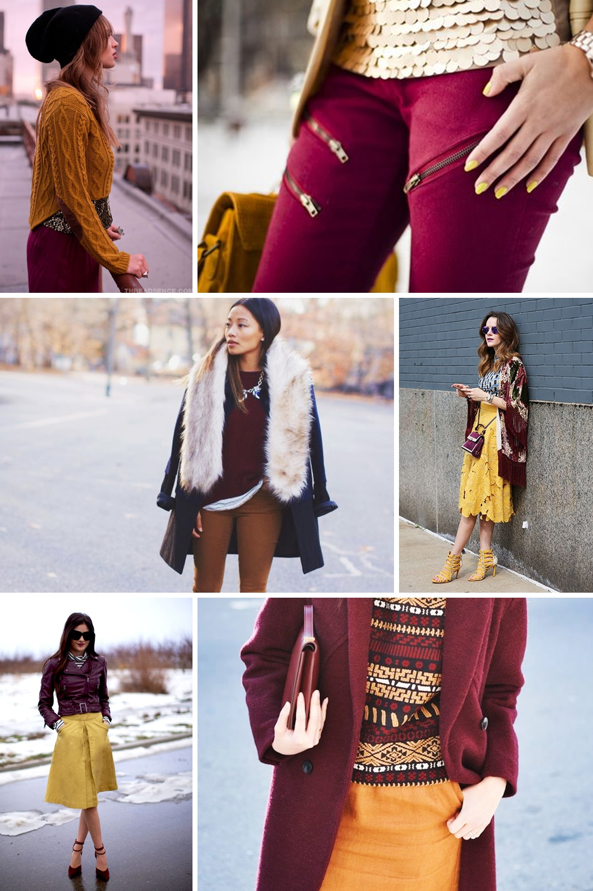 colours burgundy and mustard