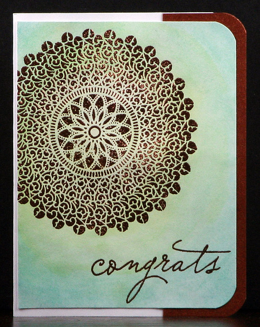 Mint Ombre Watercolor and Copper Embossed Card | shirley shirley bo birley Blog
