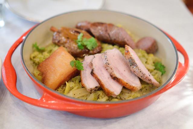 Choucroute Garnie house sausage, pork loin, crispy jowl, shank, house-made kraut, potatoes, mustard