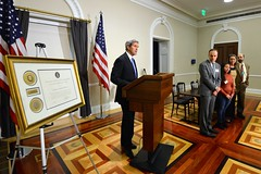 U.S. Secretary of State John Kerry delivers remarks at the White House Forum on Combatting Human Trafficking in Supply Chains at the Eisenhower Executive Office Building in Washington, D.C., on January 29, 2015. [State Department photo/ Public Domain]