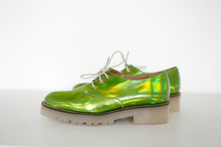 groene holografische veterschoenen