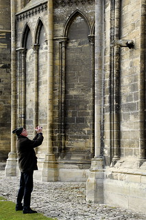 THE MAN AND THE STONE BEAST:CATHEDRAL OF BAYEUX-NORMANDY-FRANCE Feb 11th 2015