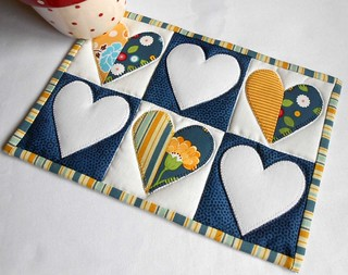 Half Hearted Mug Rug in Blue and Yellow