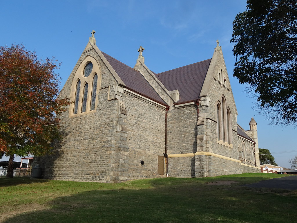 Moruya. Established 1850. Known as granite town.The large anbd impressive granite Catholic Church built in 1889.